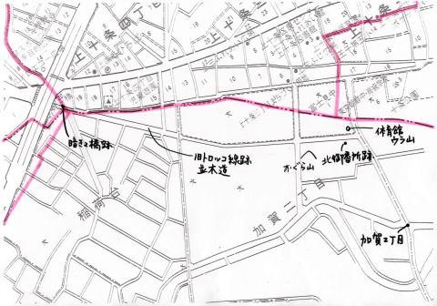 村境地図(拡大・富士見中学~姥が橋)