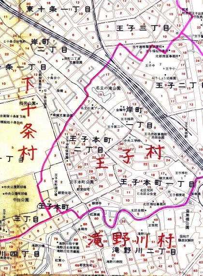村境地図(※ベースの地図は昭和52年のものです)